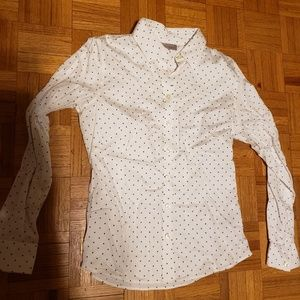 Banana Republic Button Down, White with Polka Dots